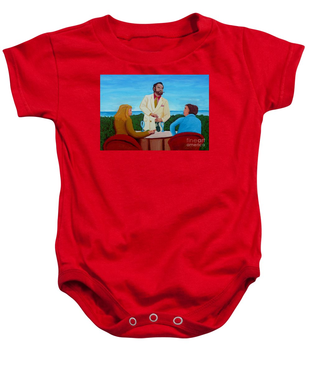 Wine Baby Onesie featuring the painting Choosing The Wine by Anthony Dunphy