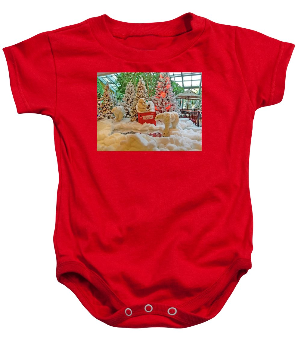 Photography Baby Onesie featuring the photograph Christmas Bears by Marian Bell