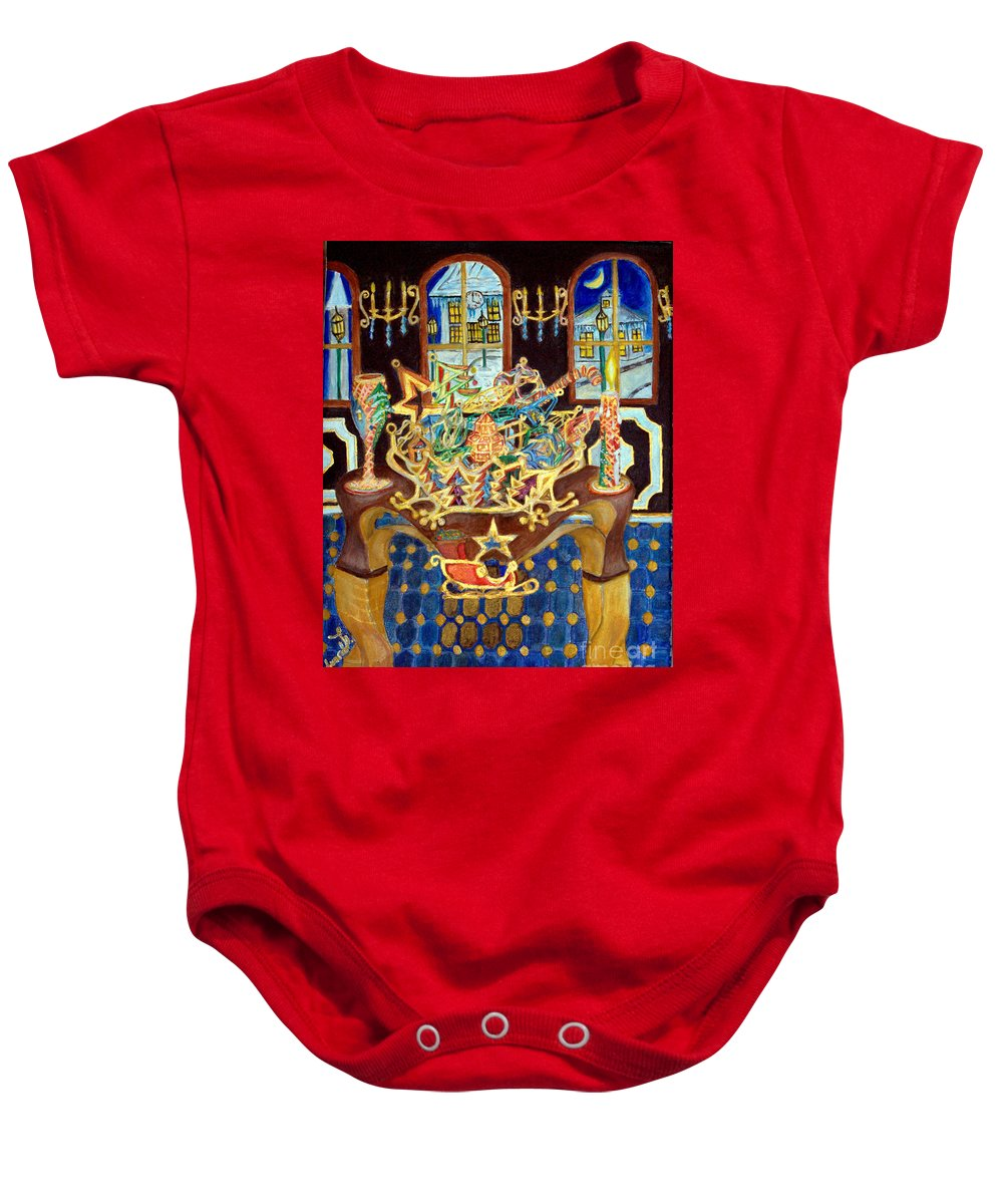 Christmas Baby Onesie featuring the painting Christmas Ornaments by Edward Lighthouse