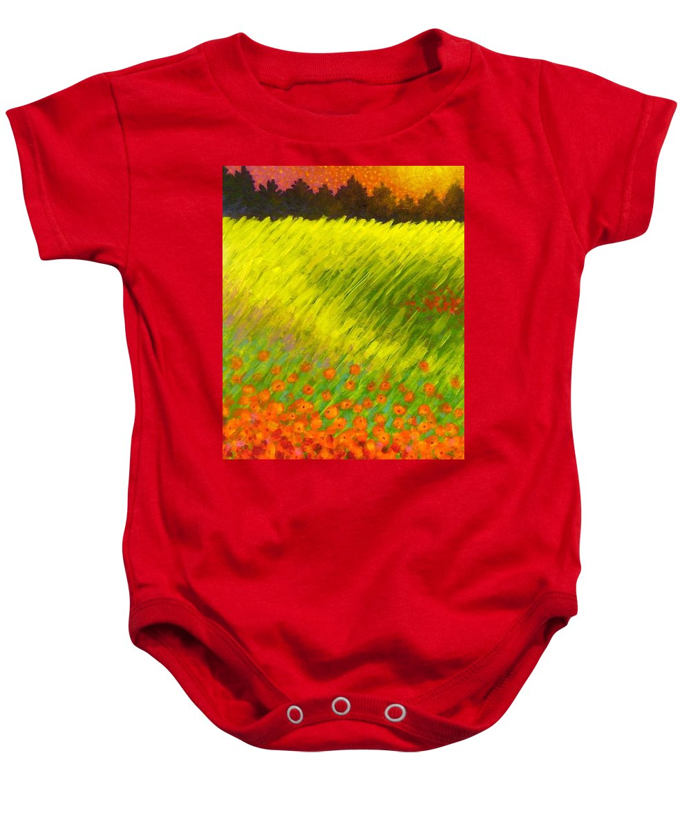 Poppies Baby Onesie featuring the painting Christmas Poppies by John Nolan