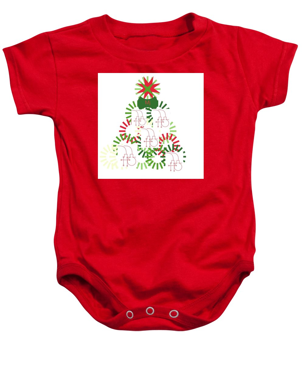 Christmas Card Baby Onesie featuring the digital art Christmas Tree by Mary Jo Hopton