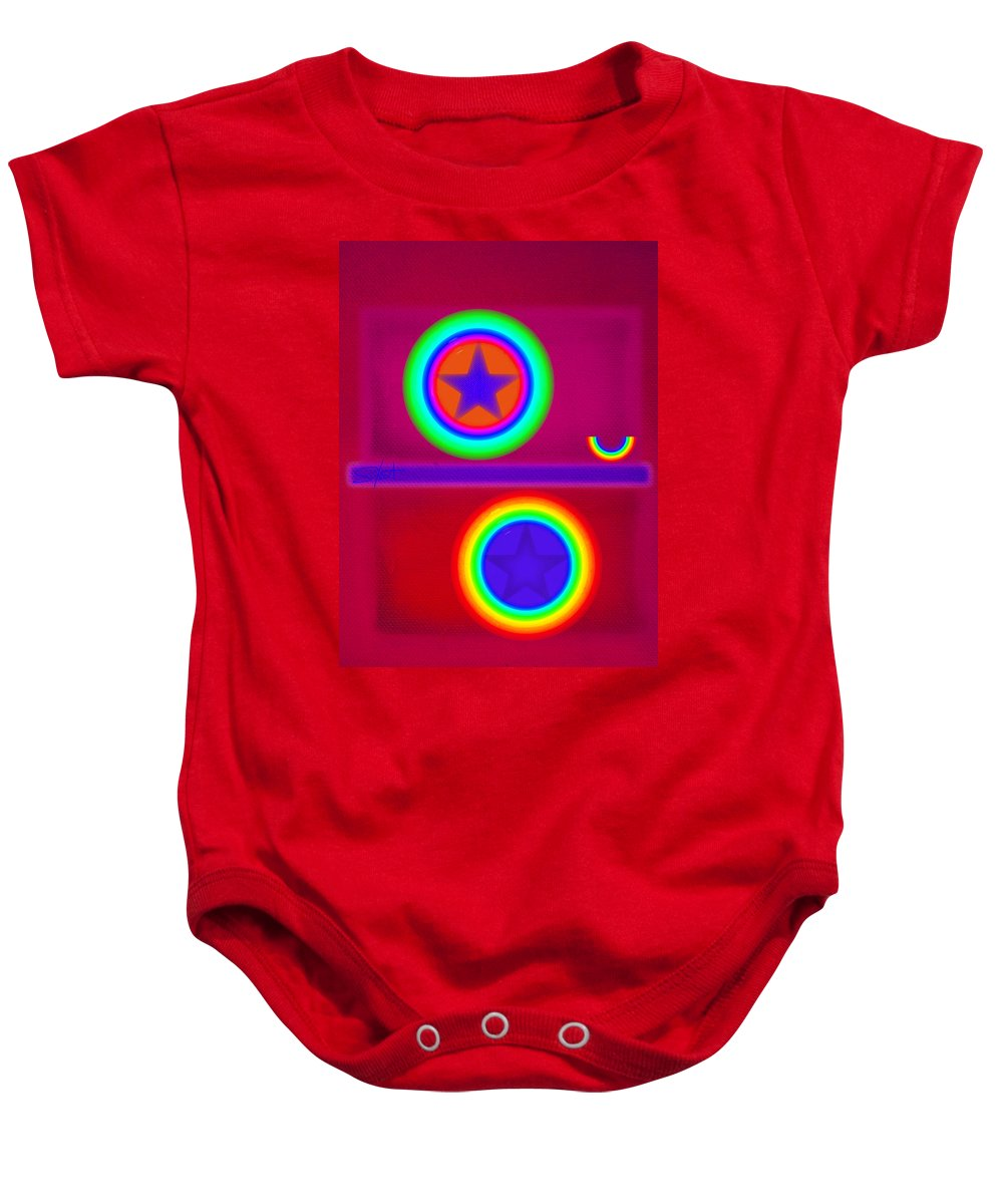 Balance Baby Onesie featuring the painting Circus Act by Charles Stuart