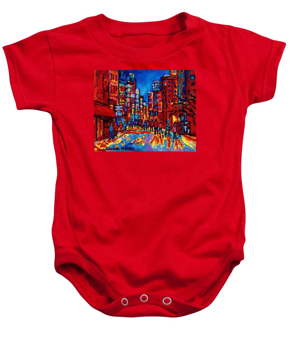 Montreal Baby Onesie featuring the painting City After The Rain by Carole Spandau
