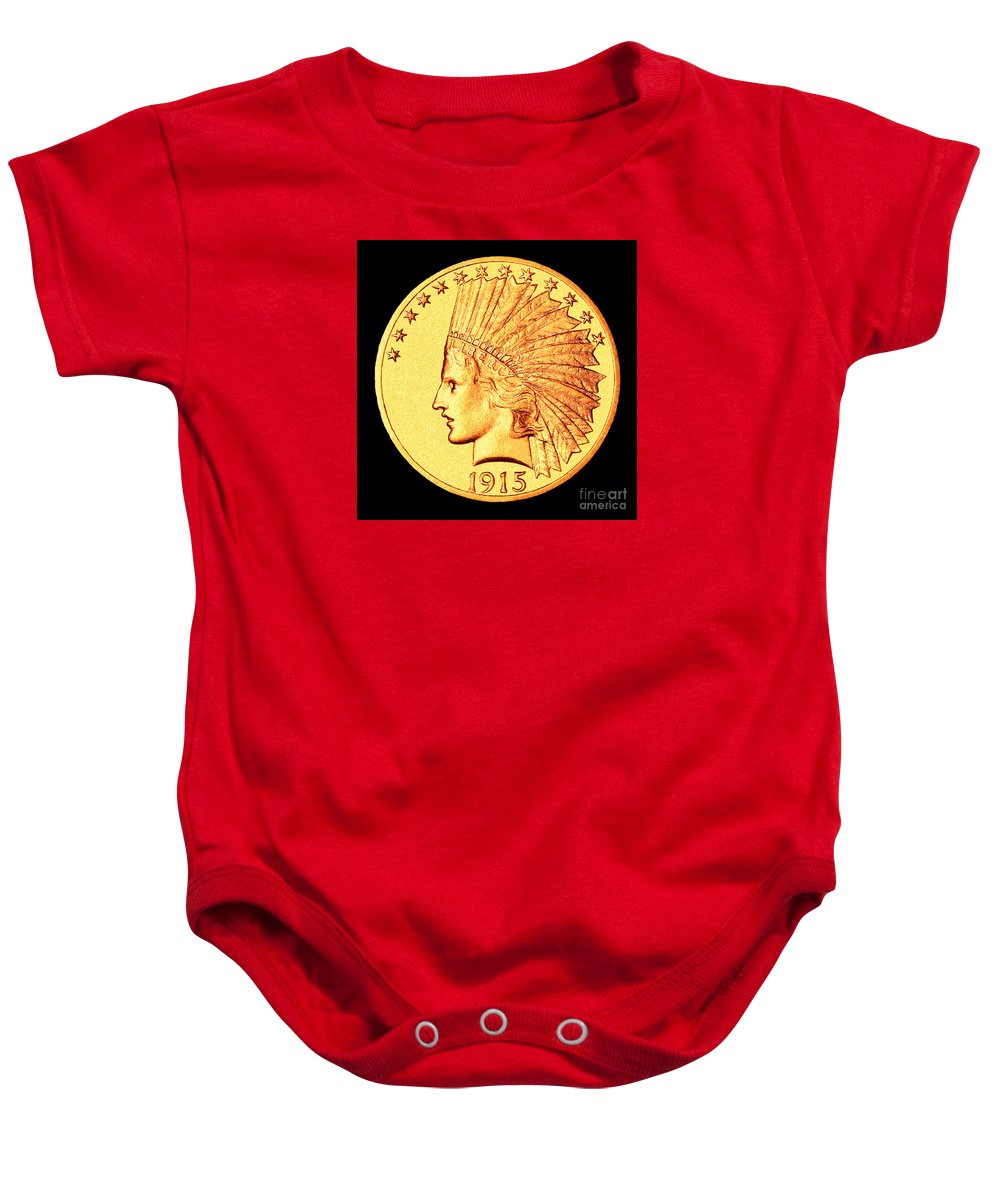 Coin Baby Onesie featuring the photograph Classic Indian Head Gold by Jim Carrell