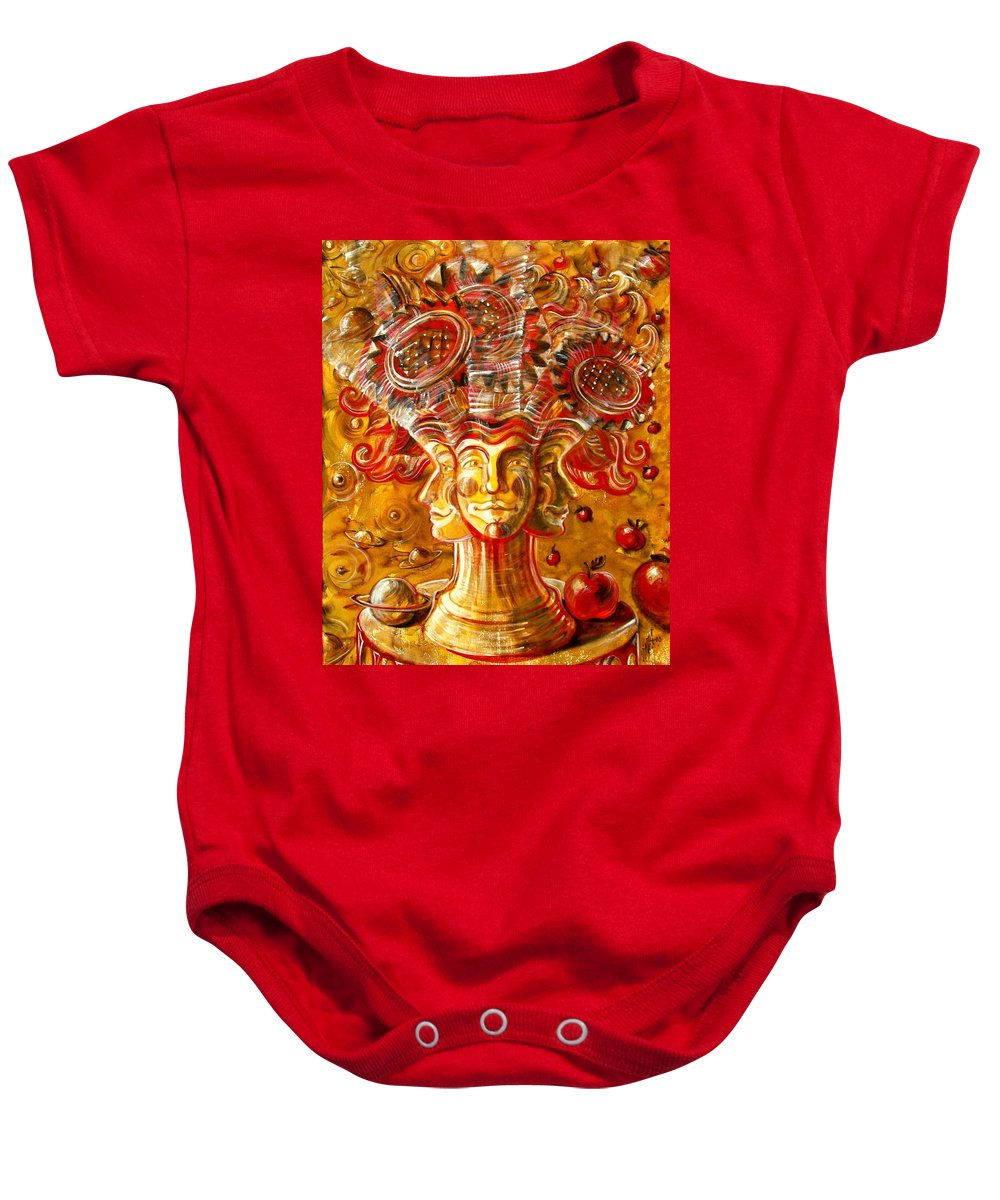 Inga Vereshchagina Baby Onesie featuring the painting Clowns With Sunflowers by Inga Vereshchagina