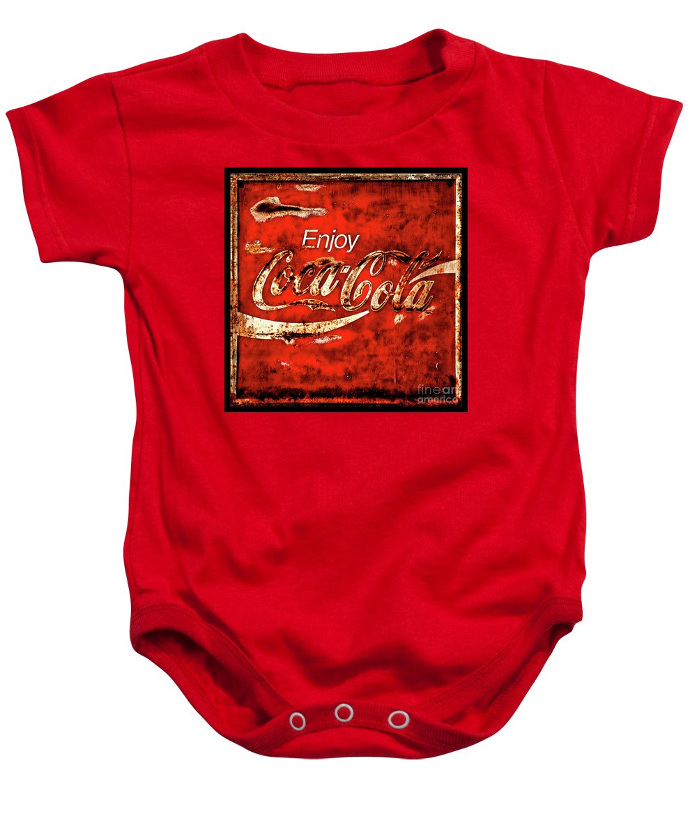Coca Cola Baby Onesie featuring the photograph Coca Cola Square Soft Grunge by John Stephens