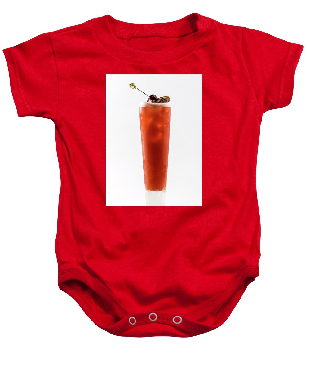 Alcohol Baby Onesie featuring the photograph Cocktail Blood Mary Isolated by Oleg Yermolov