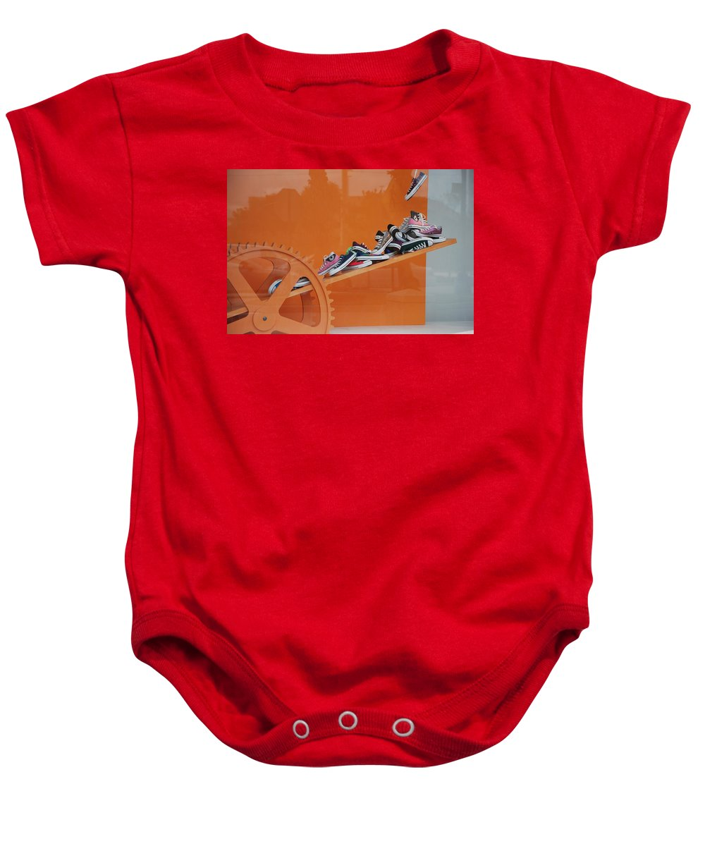 Orange Baby Onesie featuring the photograph Cogs N Converse by Rob Hans