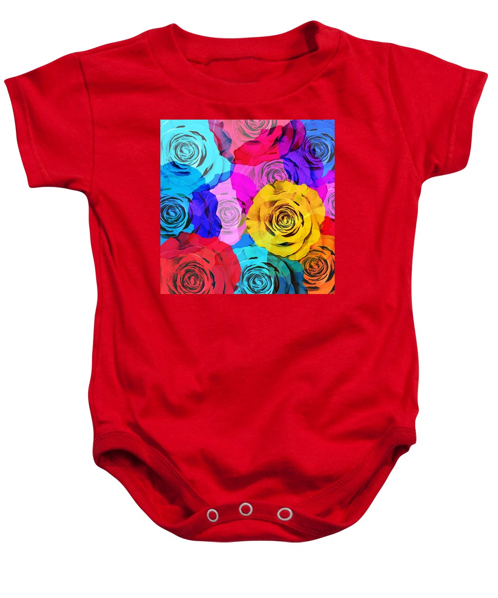 Affection Baby Onesie featuring the photograph Colorful Roses Design by Setsiri Silapasuwanchai