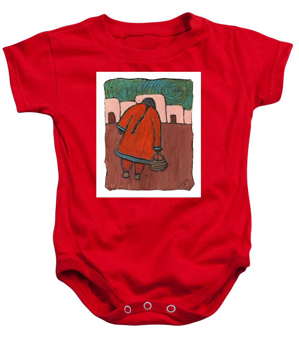 Southwest Baby Onesie featuring the painting Coming Home by Wayne Potrafka