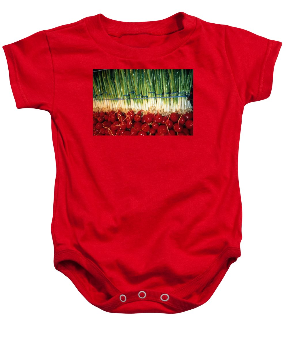 Vegetable Baby Onesie featuring the photograph Comlimentary Vegetables by Laurie Paci
