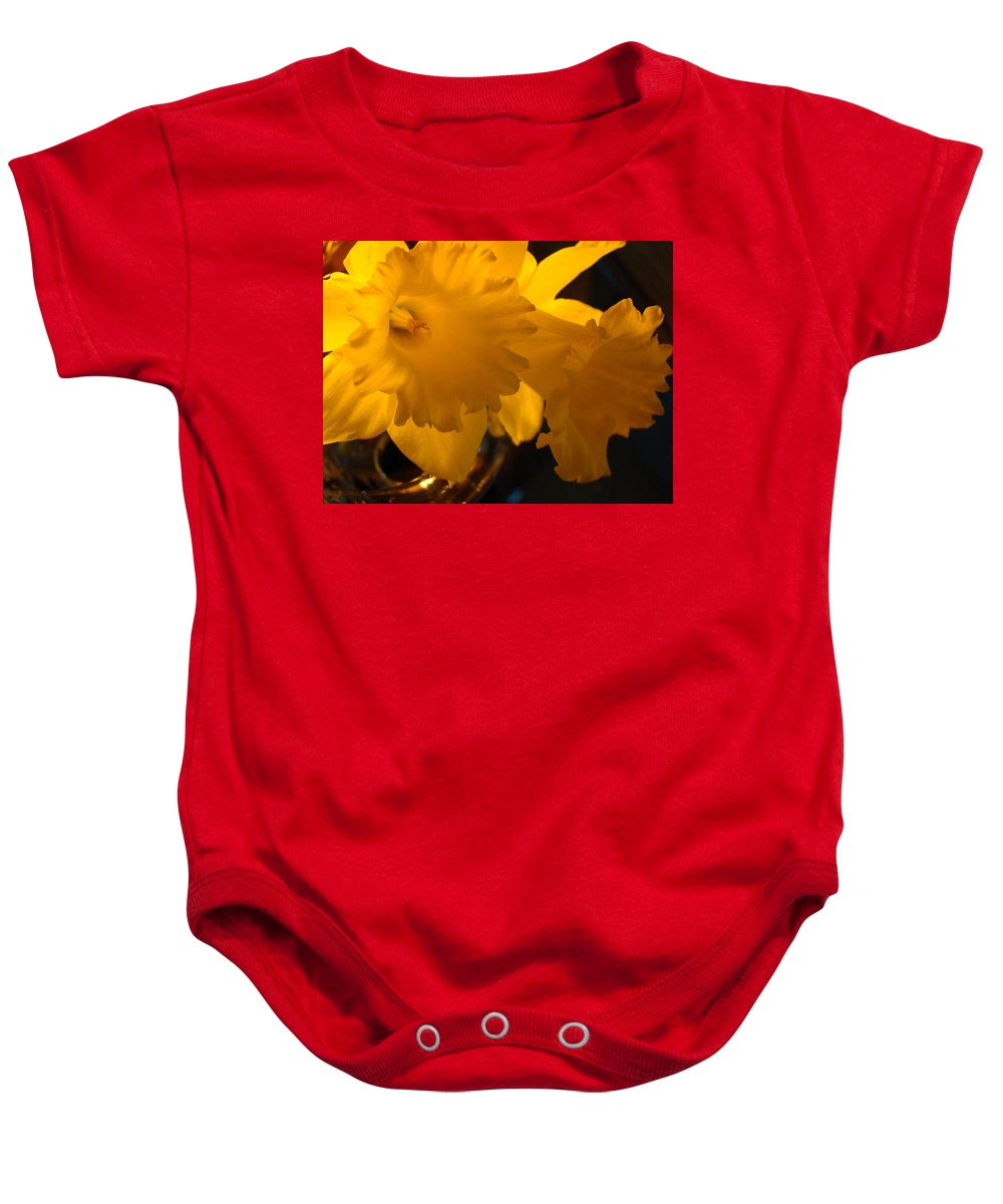 �daffodils Artwork� Baby Onesie featuring the photograph Contemporary Flower Artwork 10 Daffodil Flowers Evening Glow by Baslee Troutman