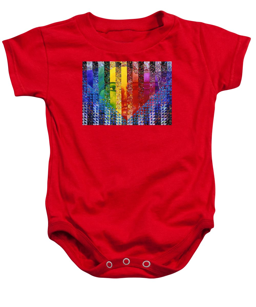 Colorful Baby Onesie featuring the mixed media Conundrum I - Rainbow Woman by Diane Clancy