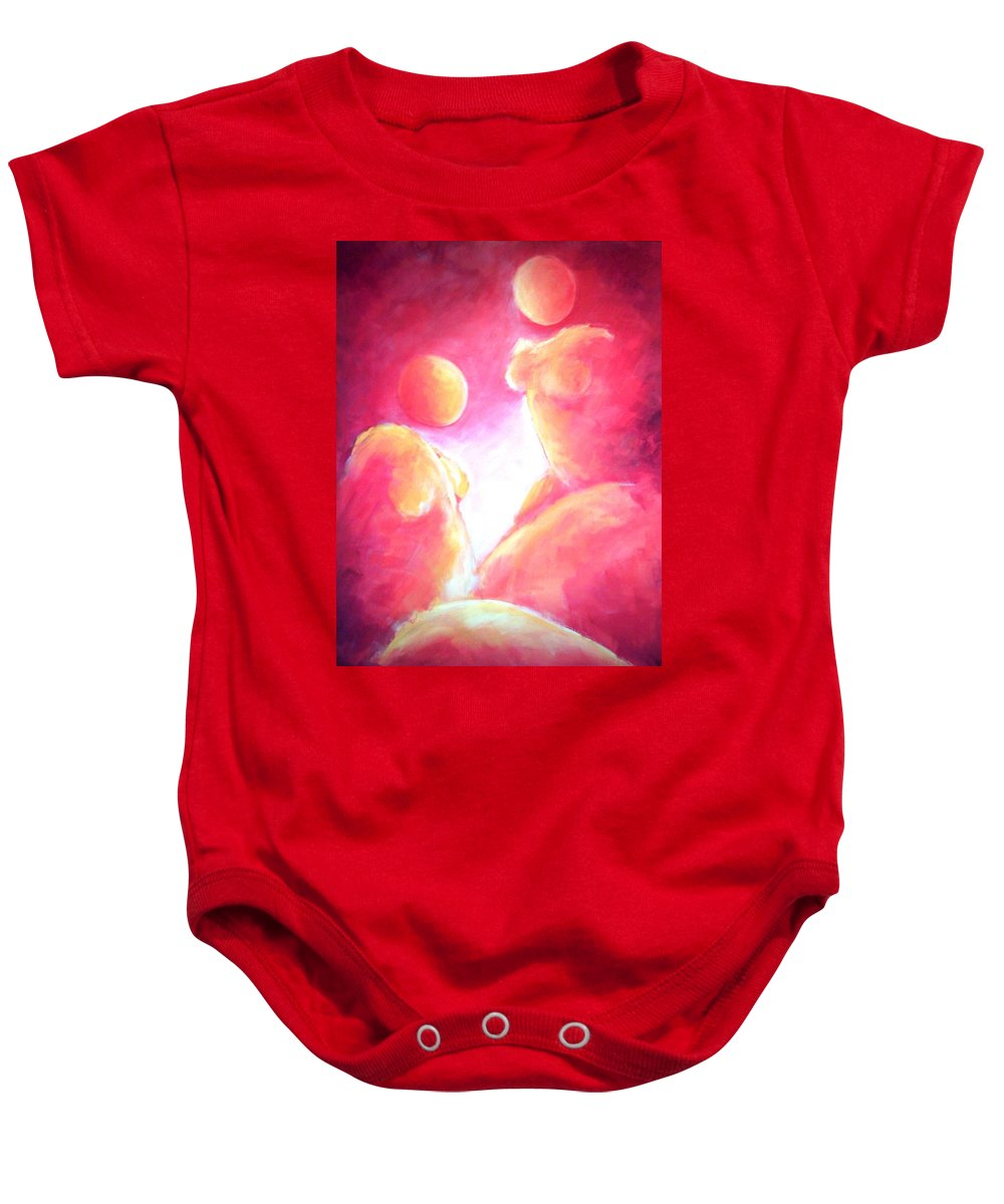 Red Baby Onesie featuring the painting Conversation by Jennifer Hannigan-Green