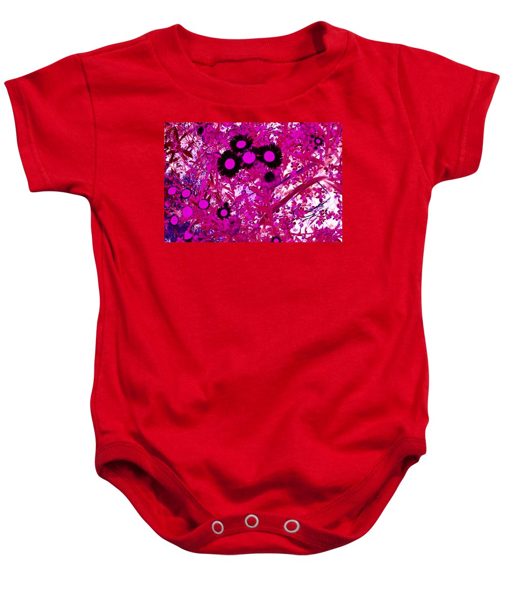 Abstract Baby Onesie featuring the digital art Cool Daisies by Rachel Christine Nowicki