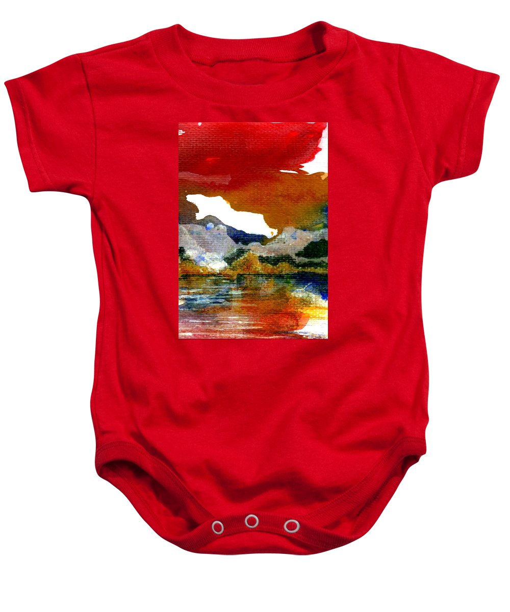 Copper Lake Baby Onesie featuring the painting Copper Lake by Melody Horton Karandjeff