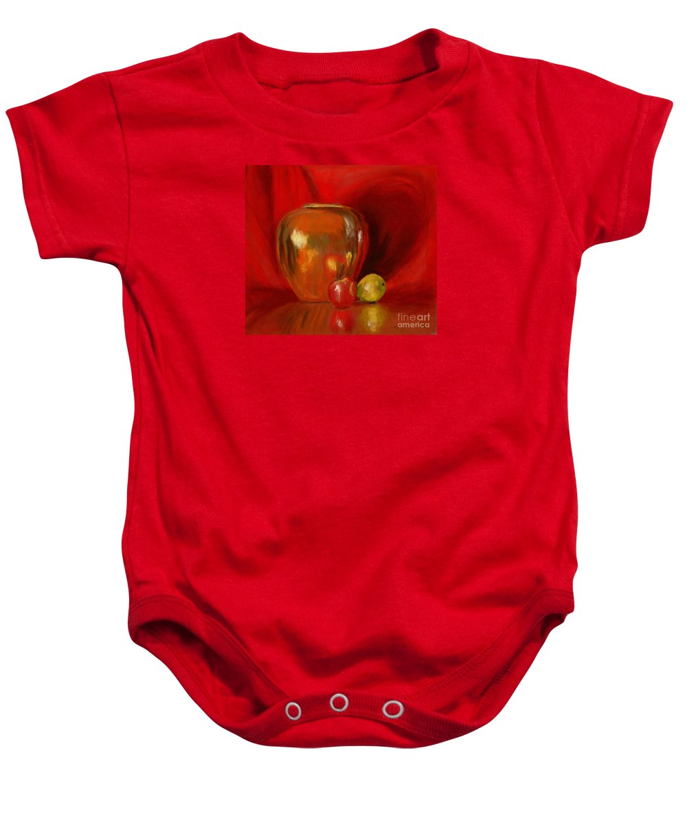 Still Life Baby Onesie featuring the painting Copper Pot And Fruit by Mary Benke