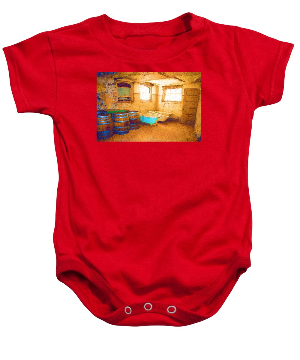 Preston Castle Baby Onesie featuring the digital art Cornered by Holly Ethan