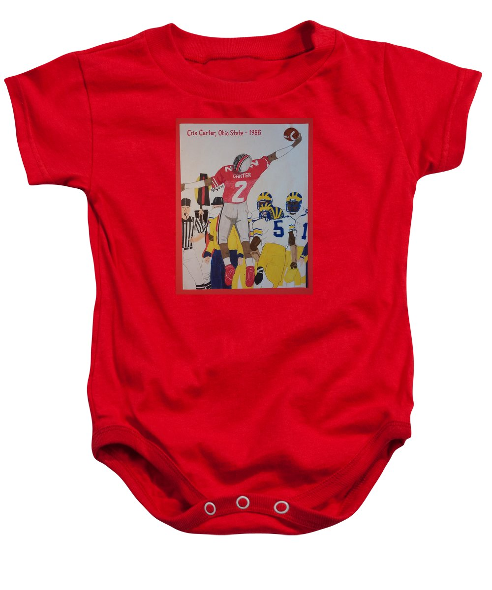 Ohio State Football. Former Philadelphia Eagles And Minnesota Vikings Wide Receiver Cris Carter Playing In A College Game At Ohio State. Baby Onesie featuring the drawing Cris Carter - Ohio State by TJ Doyle