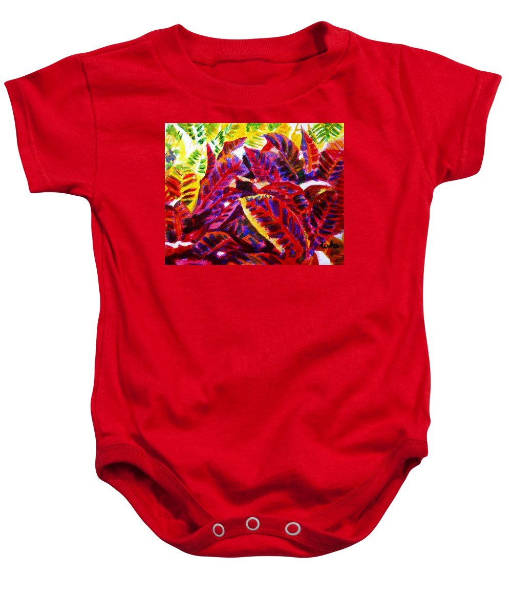 Nature Baby Onesie featuring the painting Crotons Sunlit 1 by Usha Shantharam
