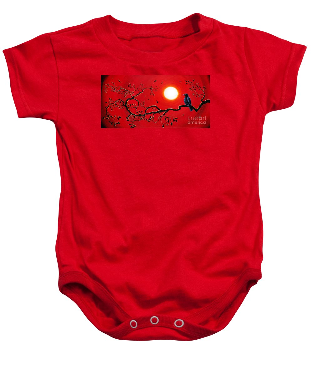 Zen Baby Onesie featuring the painting Crow In Crimson Sunset by Laura Iverson
