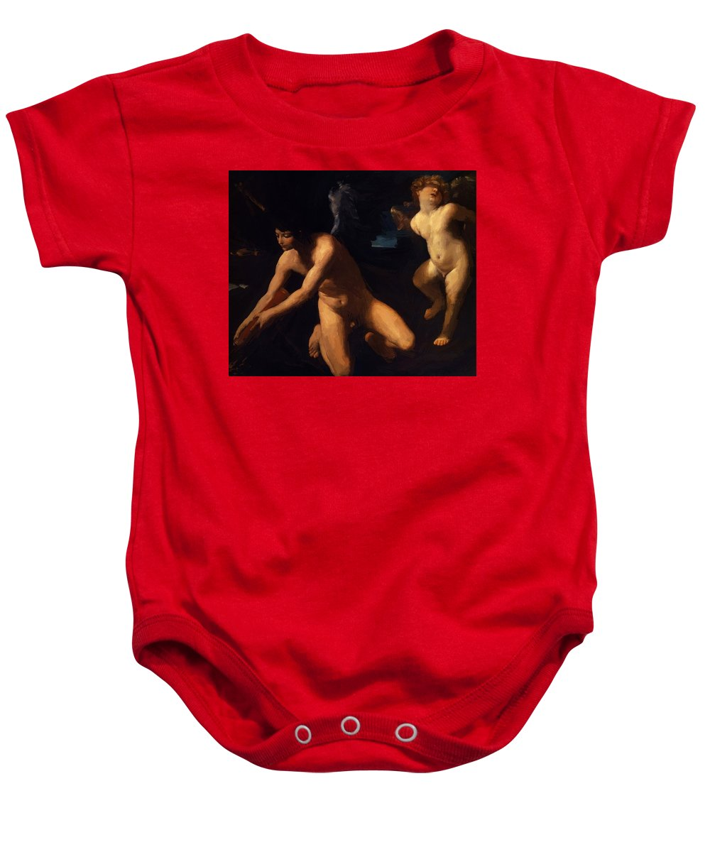 Crowned Baby Onesie featuring the painting Crowned Love And Profane Love 1623 by Reni Guido