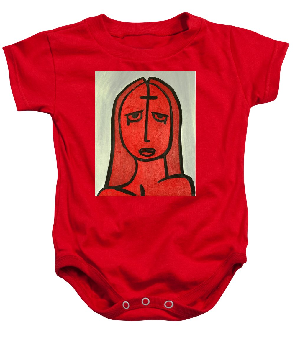 Clay Baby Onesie featuring the painting Crying Girl by Thomas Valentine