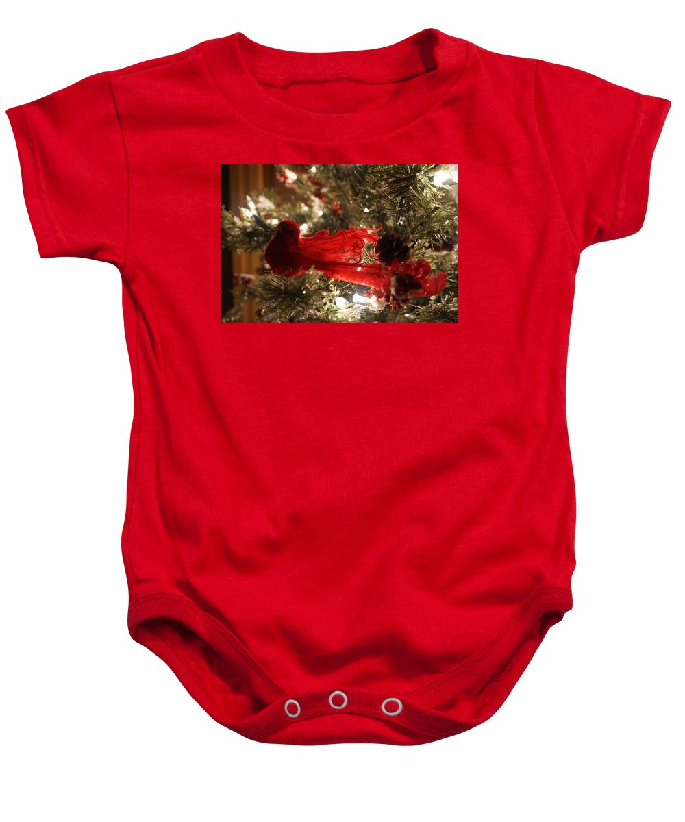 Decoration Baby Onesie featuring the photograph Curly Cardinal by Susan Brown