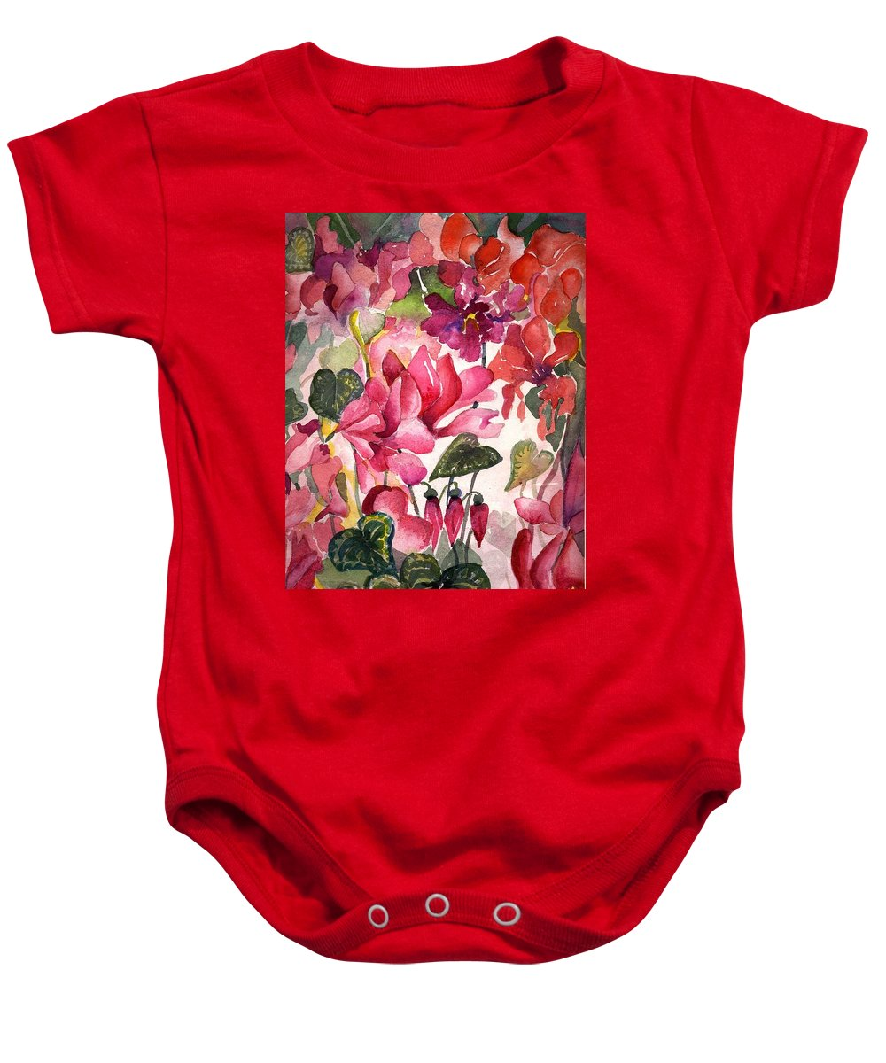 Cyclamen Baby Onesie featuring the painting Cyclamen by Mindy Newman