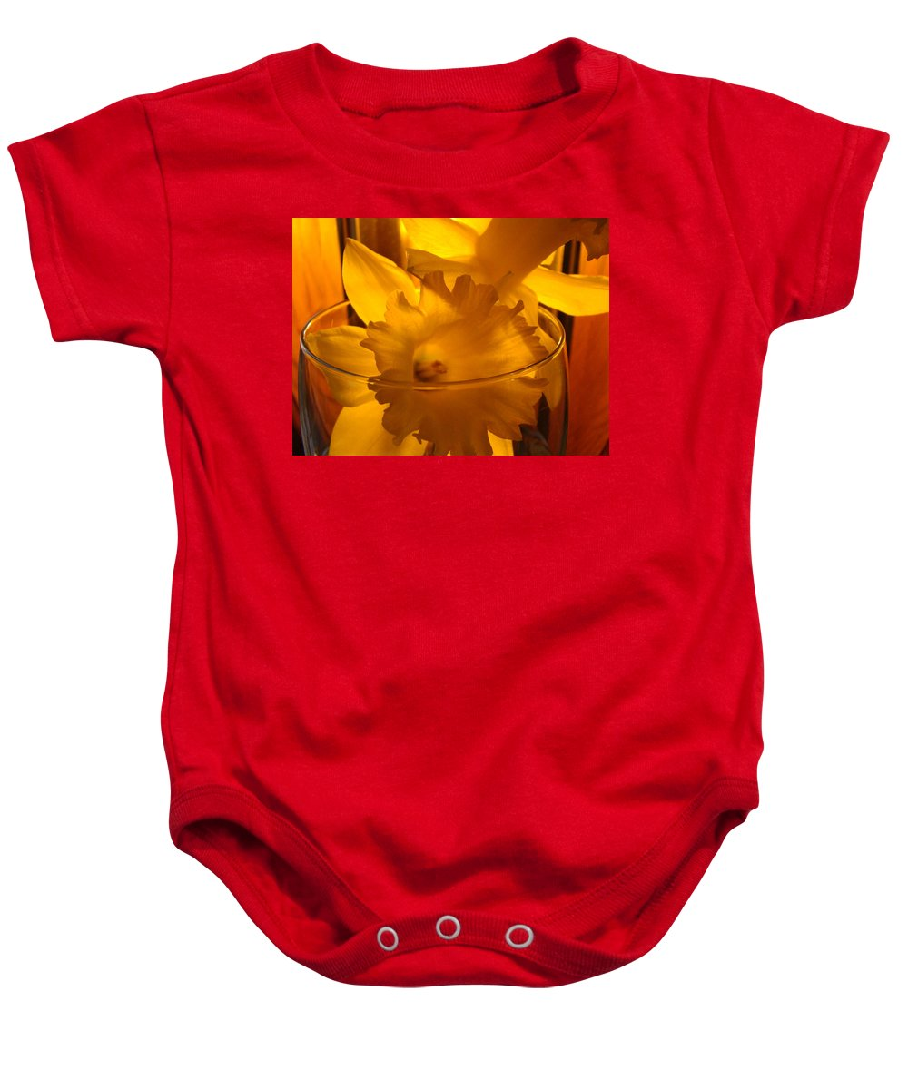 �daffodils Artwork� Baby Onesie featuring the photograph Daffodiil Flowers Evening Glow 9 Contemporary Modern Art Print Giclee by Baslee Troutman