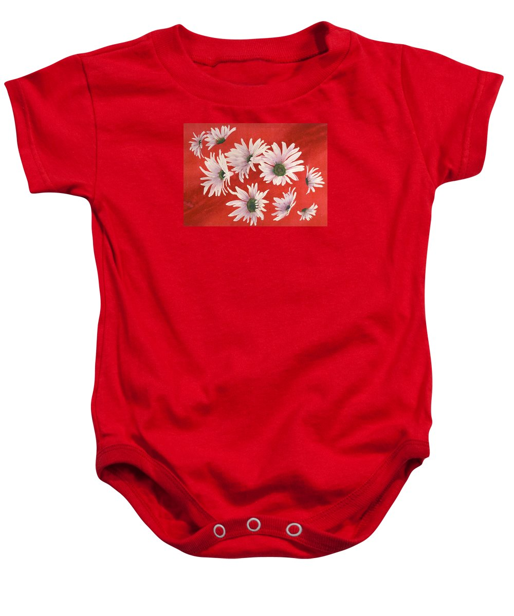 Flowers Baby Onesie featuring the painting Daisy Chain by Ruth Kamenev