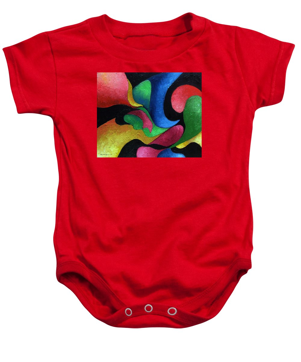 Abstract Baby Onesie featuring the painting Dance With Me by Elizabeth Lisy Figueroa
