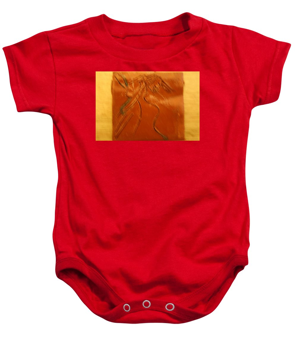 Jesus Baby Onesie featuring the ceramic art Dancer- Tile by Gloria Ssali