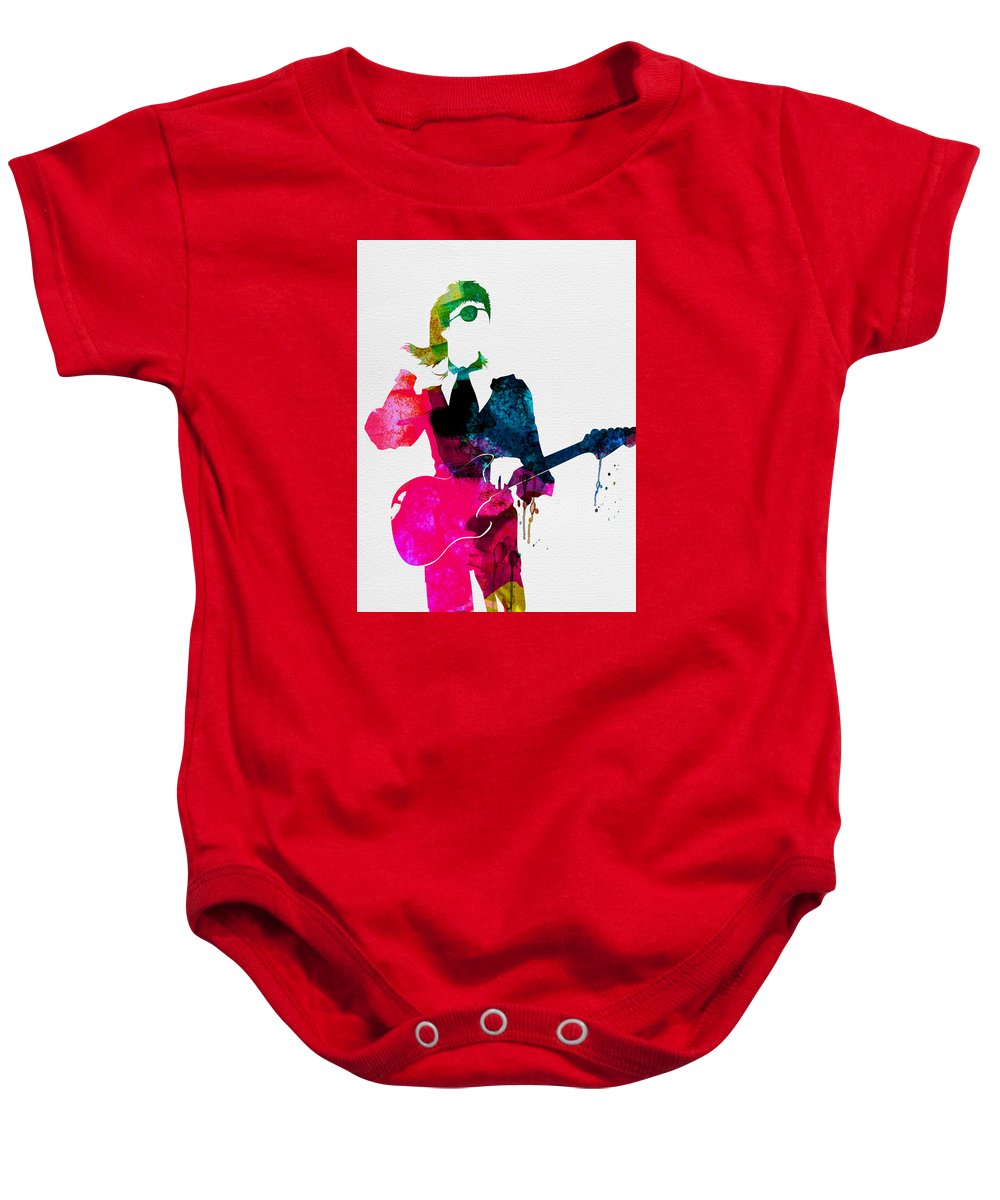 David Bowie Baby Onesie featuring the painting David Watercolor by Naxart Studio