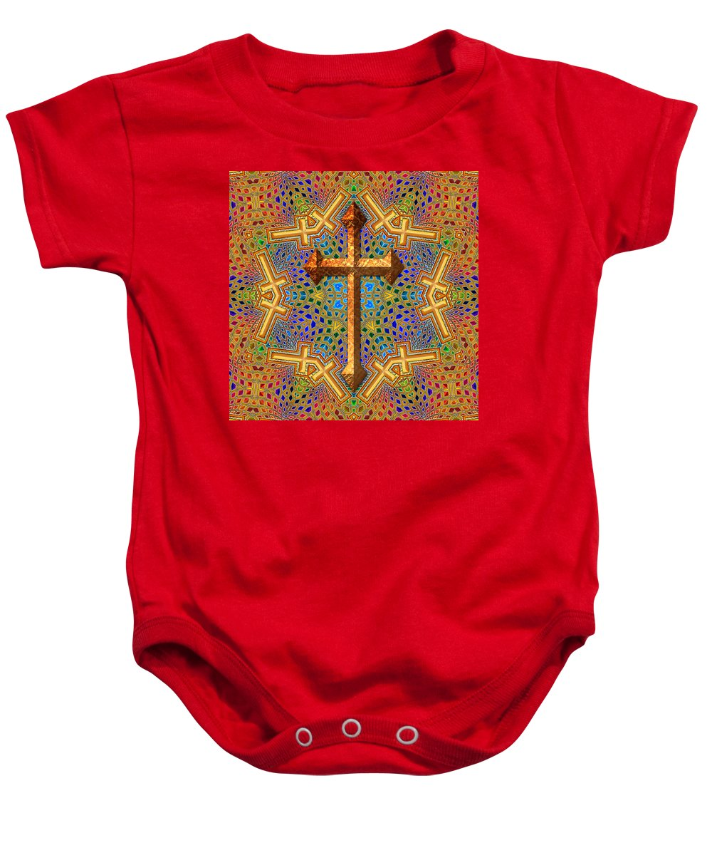 Cross Baby Onesie featuring the digital art Decorative Cross by David G Paul