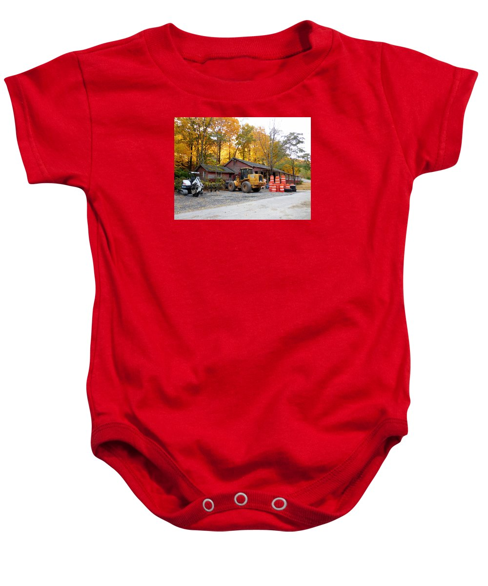 Deer Tractor Baby Onesie featuring the painting Deer Tractor by Jeelan Clark