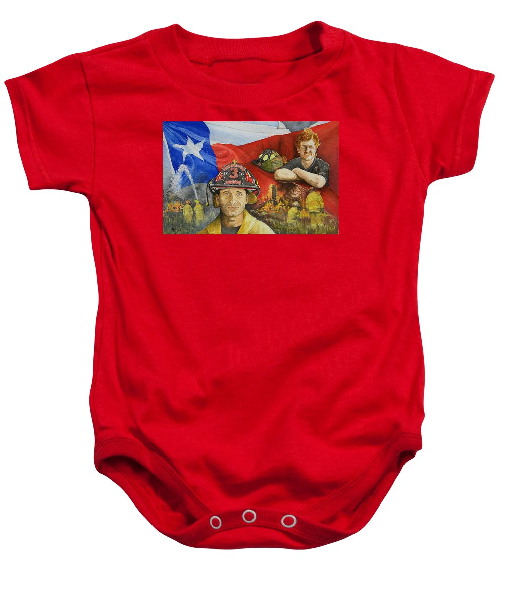 Firemen Baby Onesie featuring the painting Defending Texas by Gale Cochran-Smith