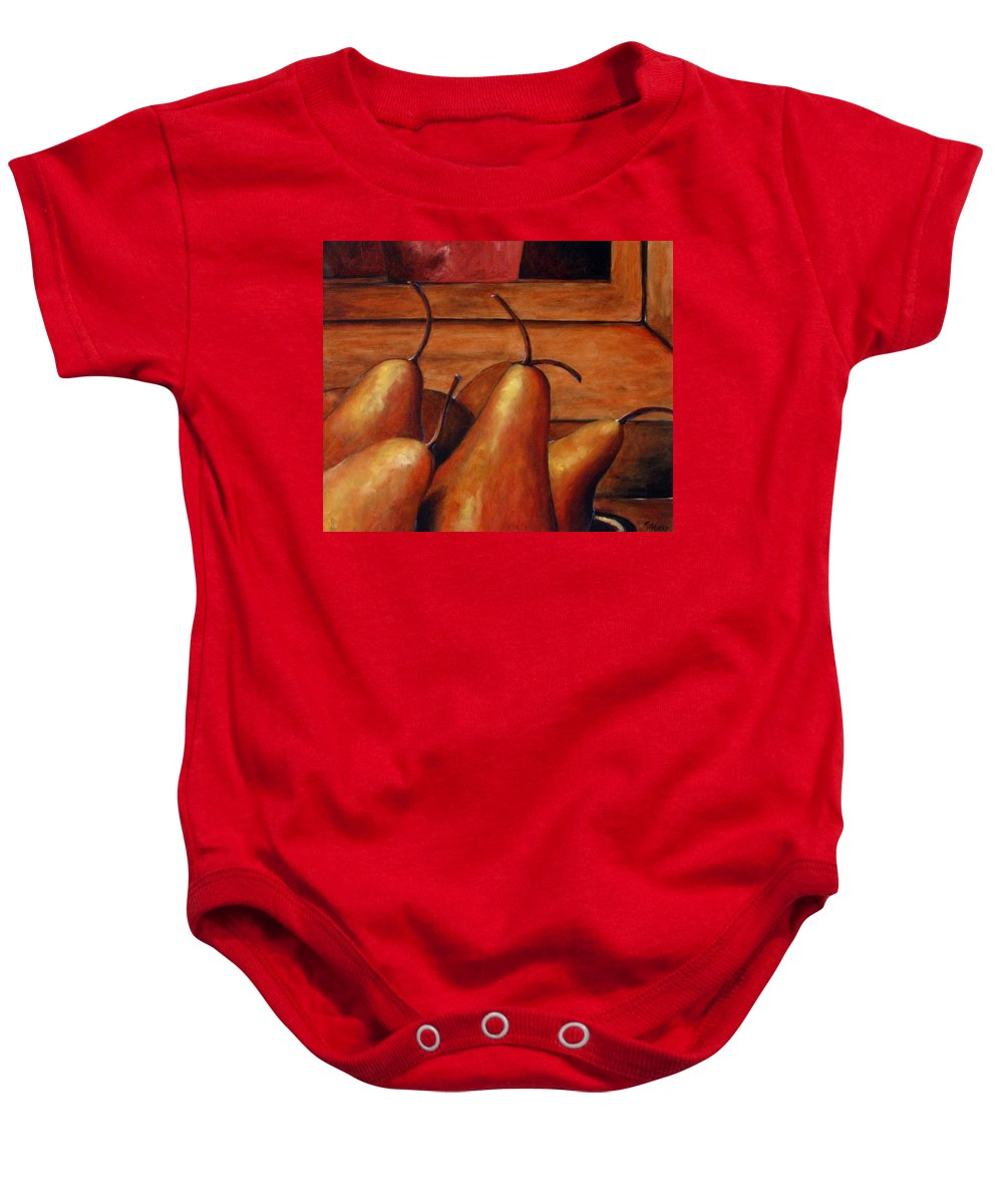 Pears Baby Onesie featuring the painting Delicious Pears by Richard T Pranke
