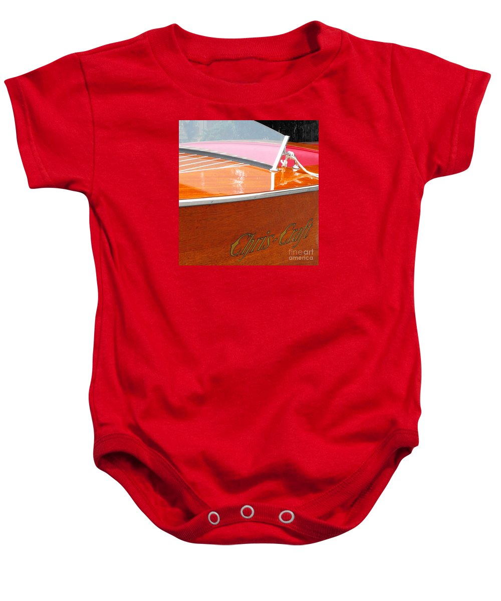 Chris Craft Baby Onesie featuring the photograph Chris Craft Deluxe by Neil Zimmerman
