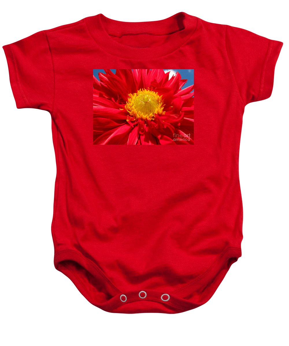 Dhalia Baby Onesie featuring the photograph Dhalia by Amanda Barcon