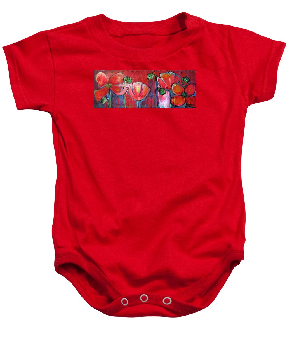 Red Baby Onesie featuring the painting Did You Say Sanctuary by Laurie Maves ART