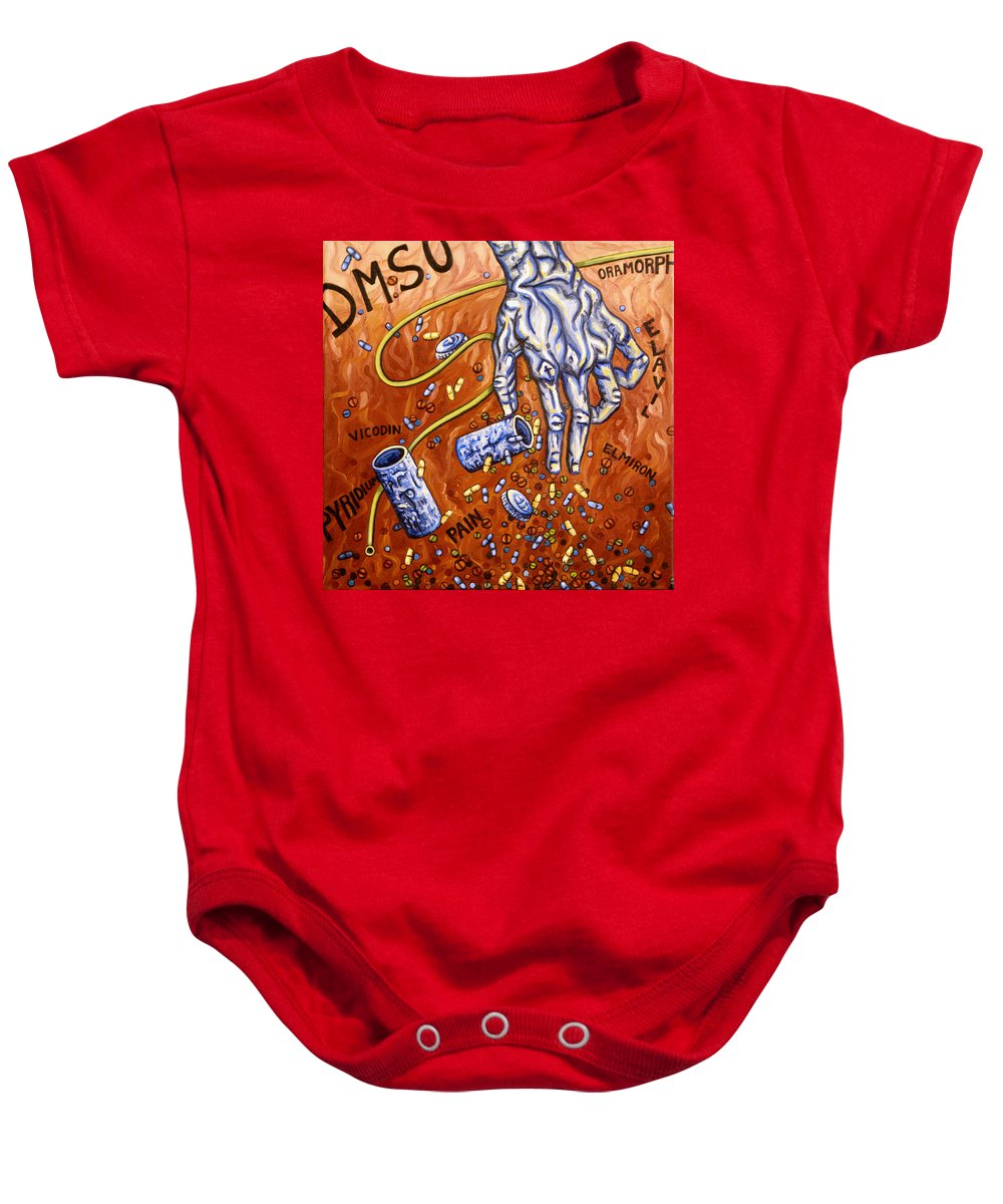 Pain Baby Onesie featuring the painting Dmso by Judy Henninger