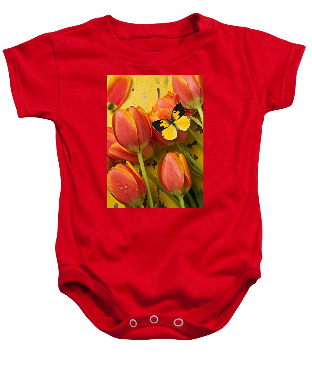 Butterfly Baby Onesie featuring the photograph Dogface Butterfly And Tulips by Garry Gay