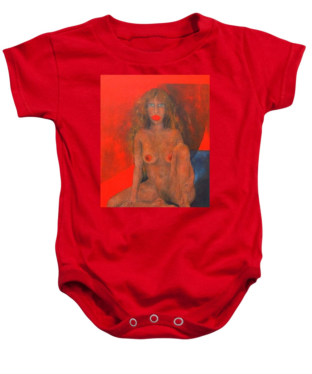 Colour Baby Onesie featuring the painting Doll by Wojtek Kowalski