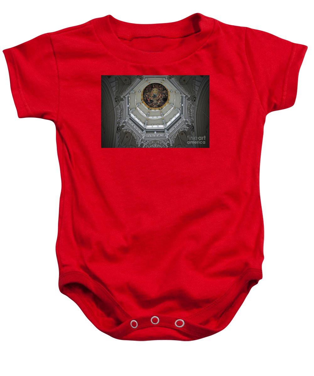 Christian Baby Onesie featuring the photograph Dome Of Cathedral Of Our Lady Antwerp by Jost Houk