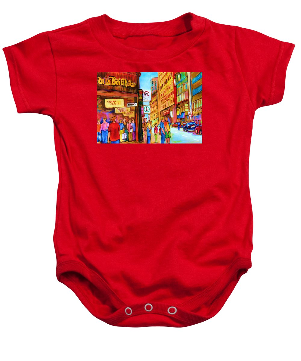 Cityscape Baby Onesie featuring the painting Downtown by Carole Spandau