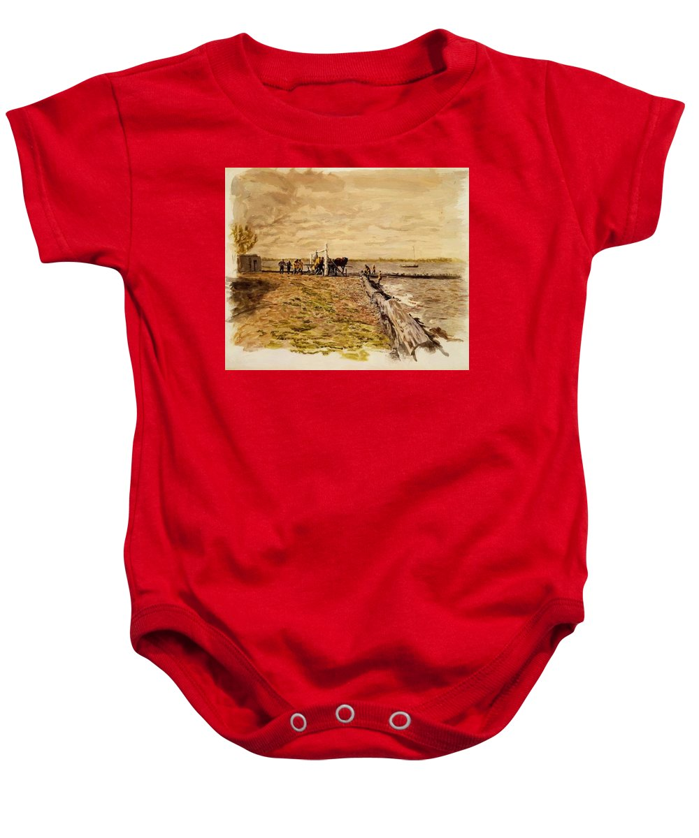 Drawing Baby Onesie featuring the painting Drawing The Seine 1882 by Eakins Thomas