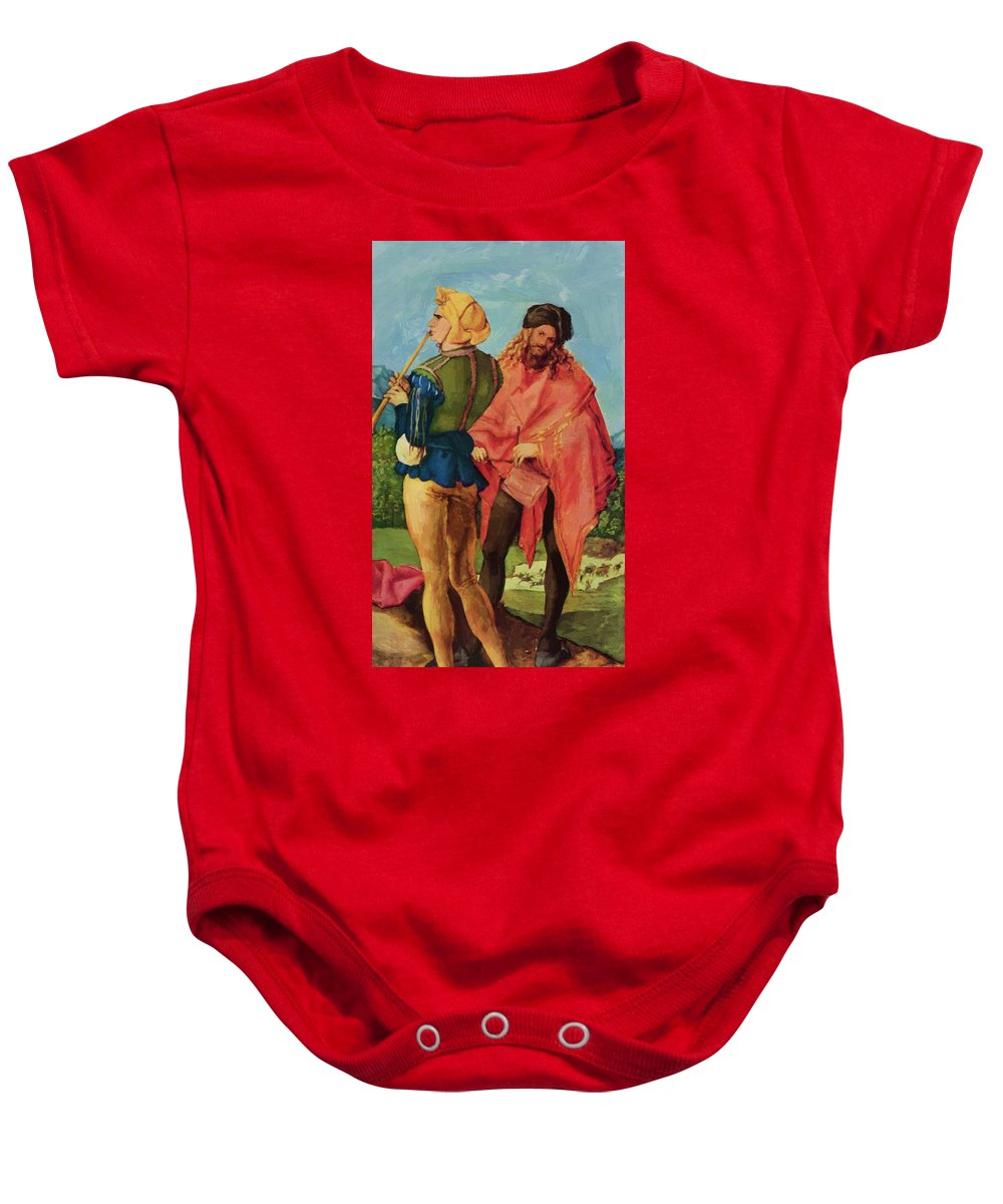 Drummers Baby Onesie featuring the painting Drummers And Pipers by Durer Albrecht