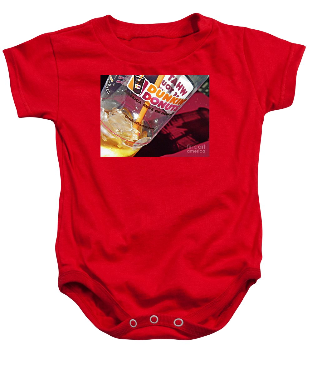 Dunkin Ice Coffee 29 Baby Onesie featuring the photograph Dunkin Ice Coffee 29 by Sarah Loft