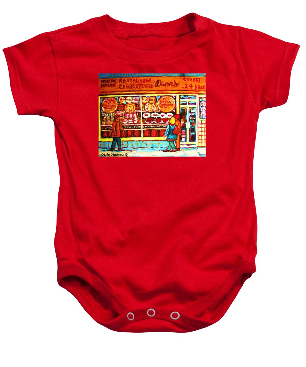 Montreal Baby Onesie featuring the painting Dunn's Treats And Sweets by Carole Spandau